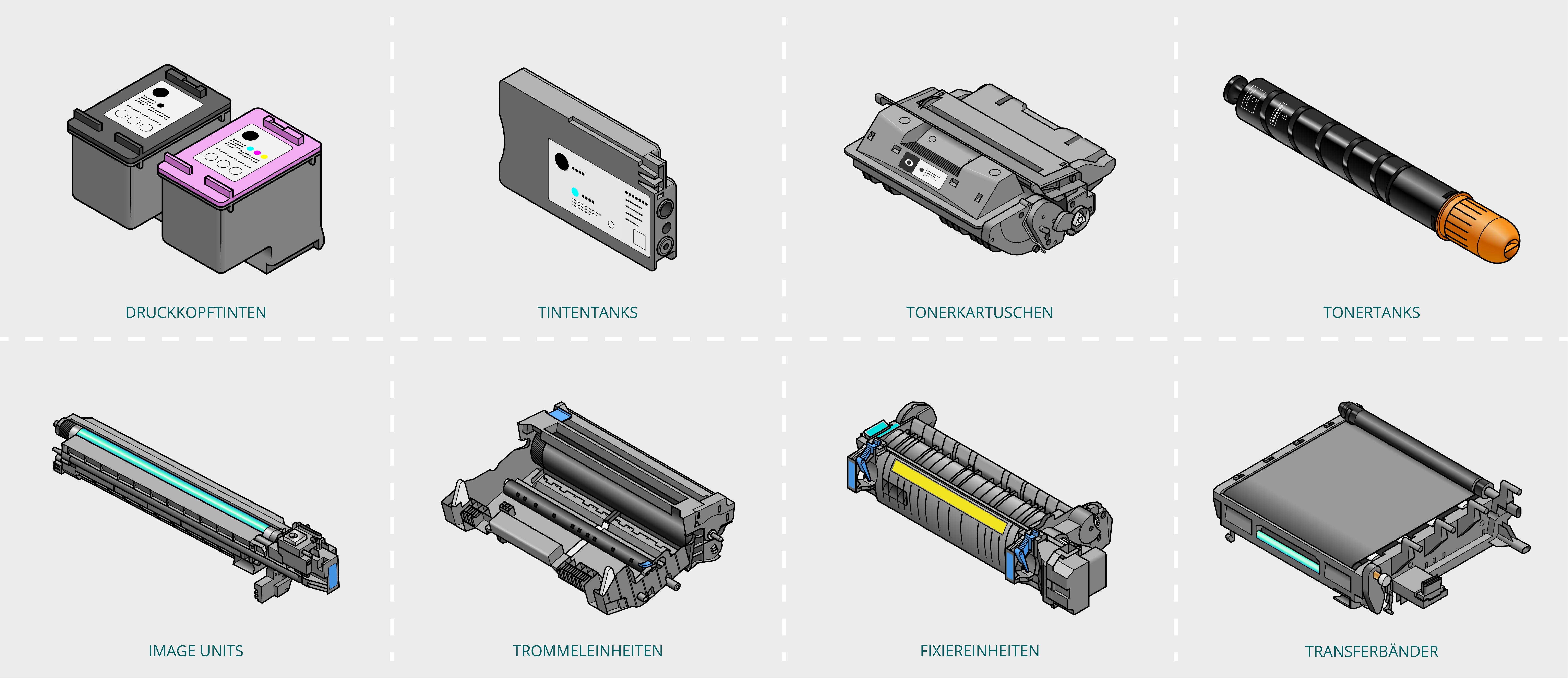 Welches Leergut wird gesammelt? Sämtliches Druckerverbrauchsmaterial wie z. B. Druckkopftinten, Tintentanks, Tonerkartuschen, Tonertanks, Image Units, Trommeleinheiten, Fixiereinheiten, Transferbänder, etc.